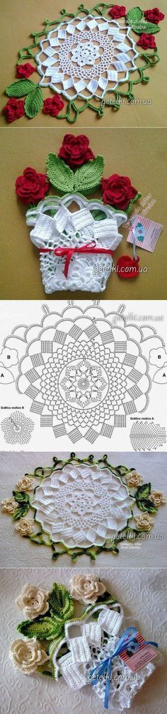 Mantel de crochet que se convierte en una maceta. Hermoso regalo!