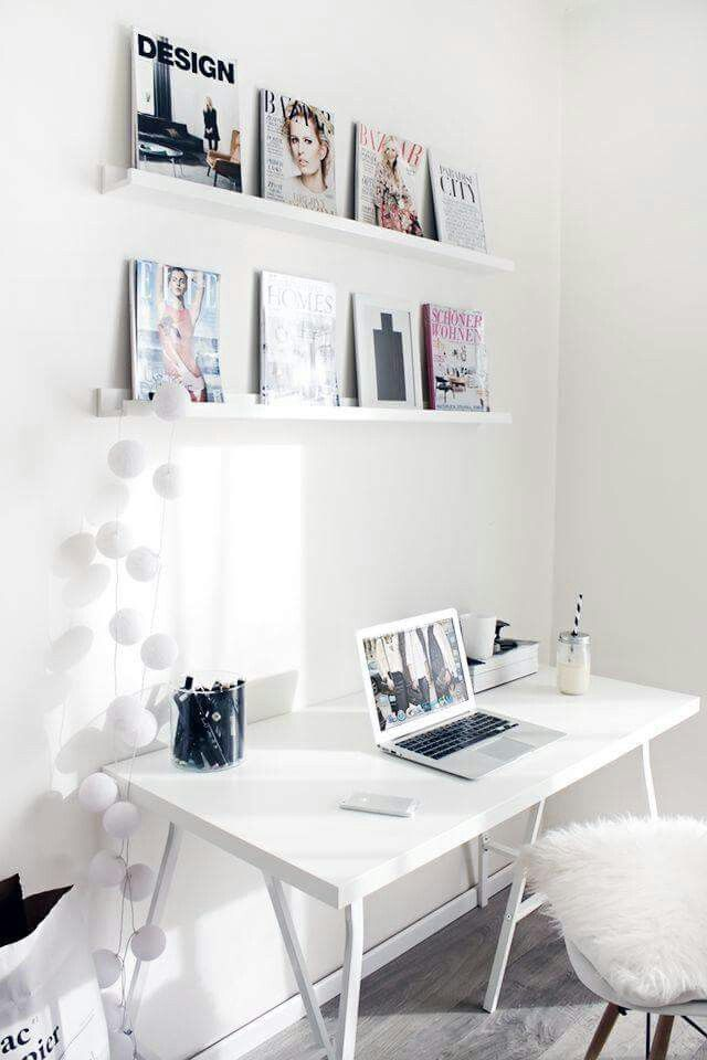 Pretty all whiteWorkspace Home Office Details Ideas for Interior Design  Decoration Organization Architecture White Desk Chair