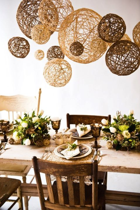 "Handmade twine ball ""chandelier"" ~ +gorgeous table setting. Maybe I should make a few more to put over my table."