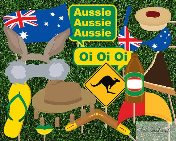 Instant Download Australia Day Photo Booth by InkOrchardPrintables
