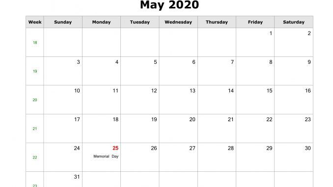 Free Fillable May 2020 Calendar Template Printable Pdf Word In