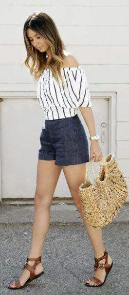 Blue/white pinstriped blouse high waist denims shorts tan flats straw beach tote