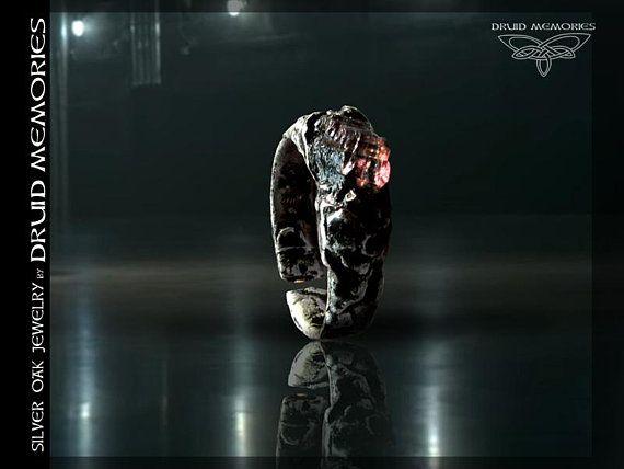 "Water melon tourmaline ring ""Eloise"", druid ring, statement ring, pagan ring, one size ring."