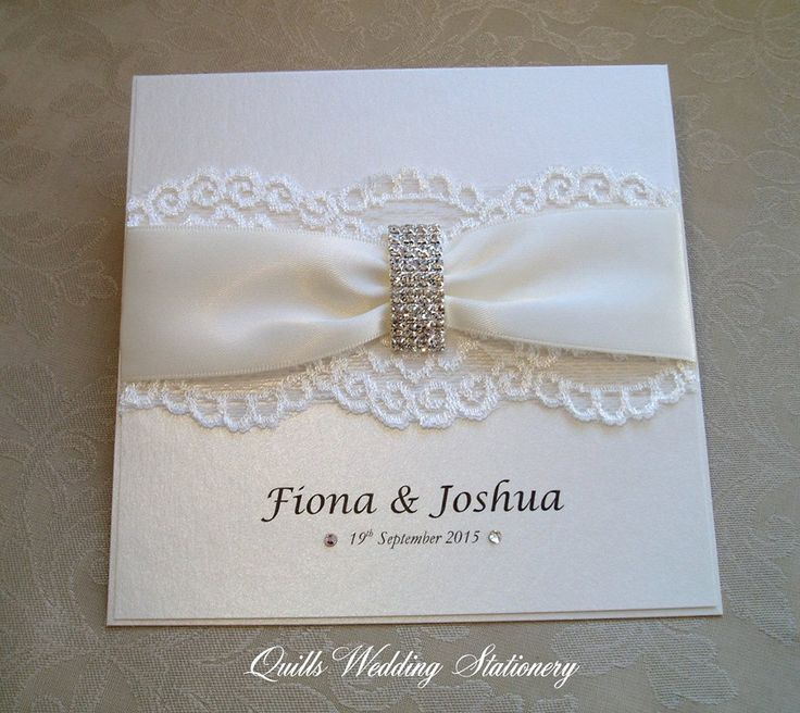 tie ribbon wedding invitation%0A Luxury Diamante Buckle Wedding Invitation  Various Colour Options for Satin  Ribbon