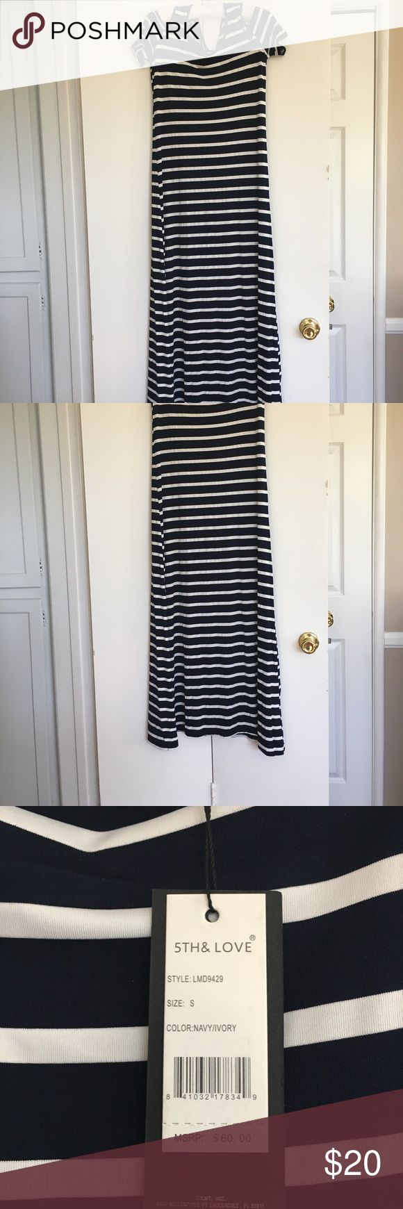 "NWT cold shoulder striped maxi dress NWT cold shoulder striped maxi dress. 54"" long from shoulders to bottom. Size is small but can easily fit medium, material is stretchy and lightweight. I don't believe it's see through at all! 5th & Love Dresses Maxi"