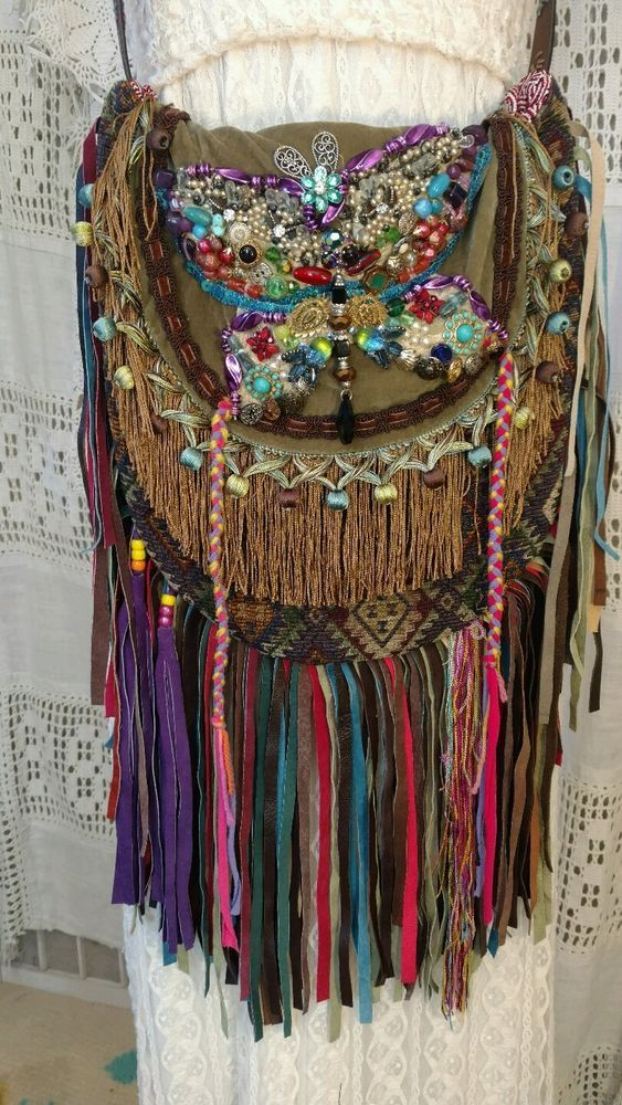 Handmade BOHO FESTIVAL Bag Leather Fringe Collage Hippie Hobo Gypsy Purse tmyers #Handmade #ShoulderBag
