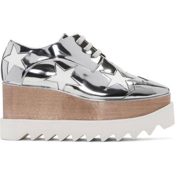 Stella McCartney Silver Star Platform Elyse Derbys (2 005 BGN) ❤ liked on Polyvore featuring shoes, oxfords, silver, cut-out oxfords, platform oxfords, silver platform oxfords, lace up shoes and star shoes