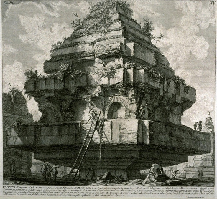 Giovanni Piranesi (1720-1778) - The Tomb of the Metelli. Piranesi was one of the great draughtsman of the 18th century, and his dramatic flair with ancient topographical subjects made him an influential figure.