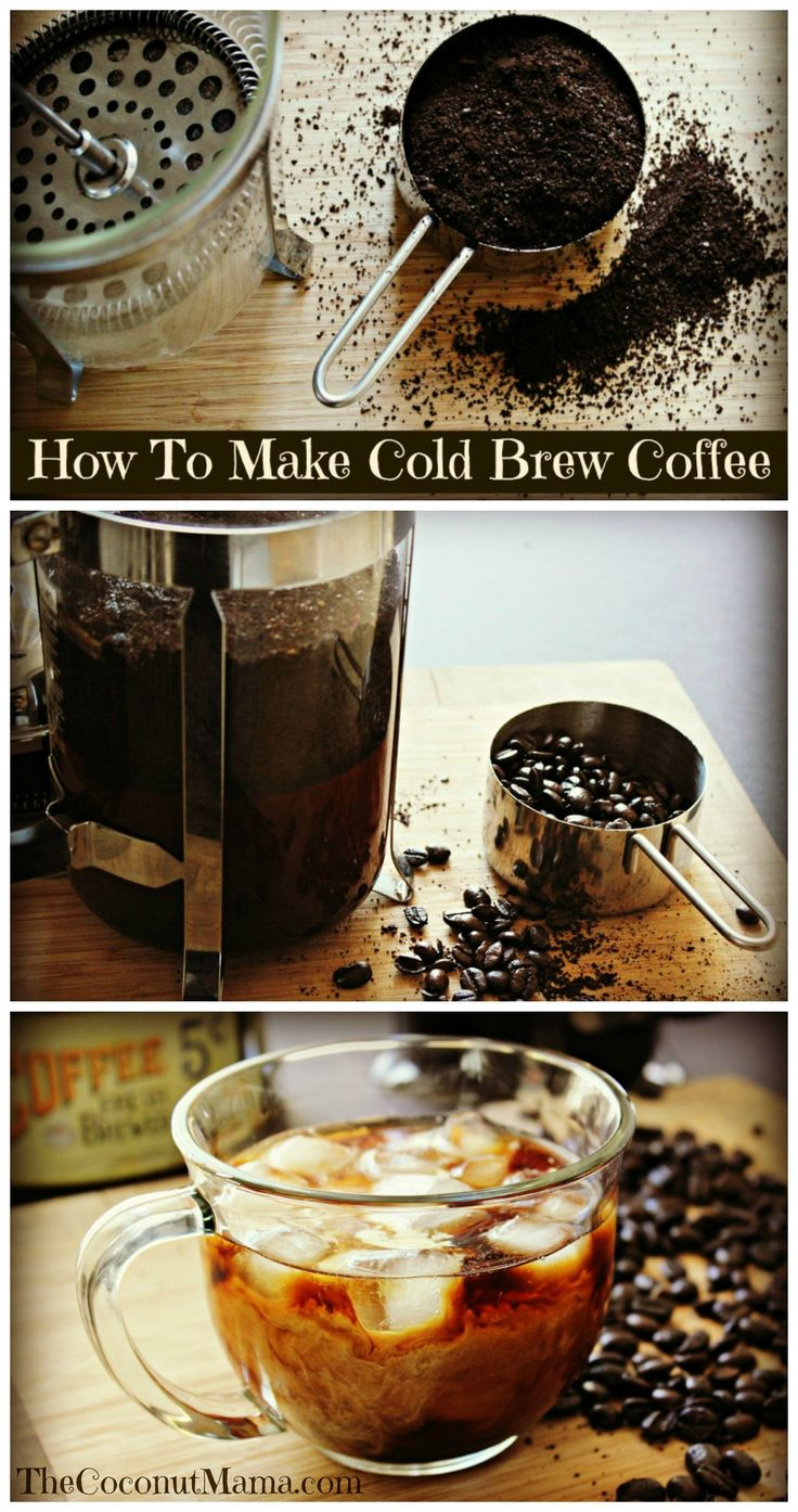 How To Make Cold Brew Coffee 2C ground, organic coffee 4C water French press or 1/2 gal jar to contain  Combine and allow to rest for 12-24 hours, strain and store in refrigerator.  (May have double the caffeine content and will be VERY strong)  Use at your own risk!  :)