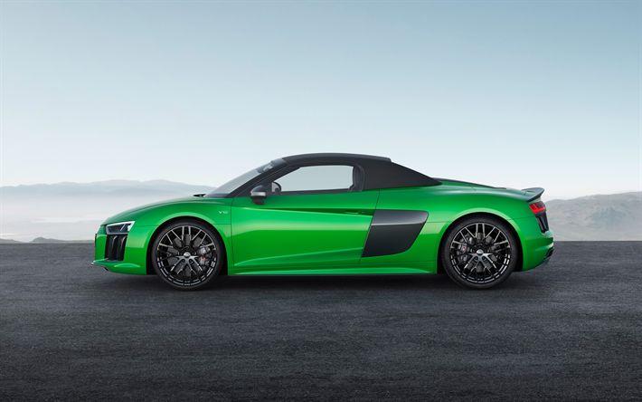 Télécharger fonds d'écran Audi R8 Spyder, 2018 voitures, supercars, cabriolets, vert r8, Audi