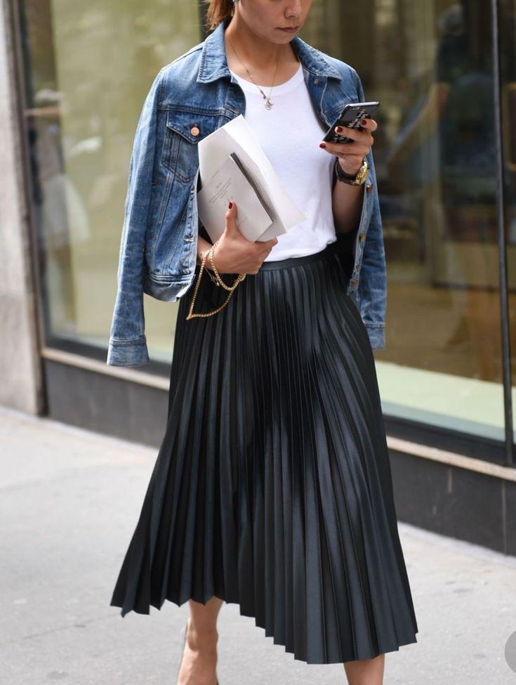 Black Pleated Skirt and Denim Jacket | White Tee Denim Jacket Skirt Spring Look ... 13
