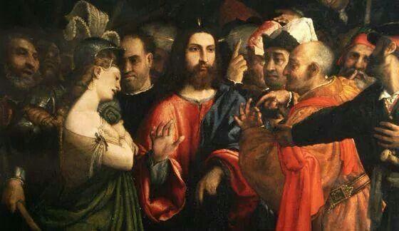 Lorenzo Lotto cristo y la adúltera