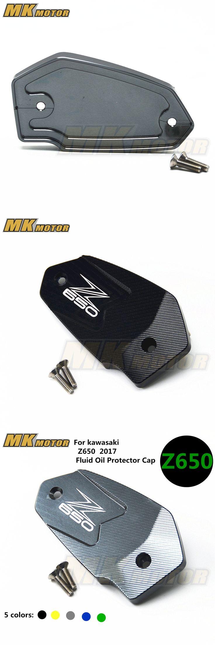 For Kawasaki Z650 with logo 2017 Motorcycle accessories Aluminum Brake Fluid Reservoir clutch Fluid Oil Protector Cap 8 colors