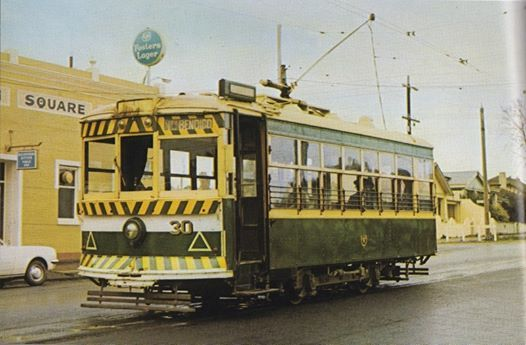 "Birney tram No30 waits at the end of the line at Golden Square, ready to return to Pall Mall and North Bendigo. c1970. Brian Andrews photo. ""By Birney to Golden Square""  ~M"
