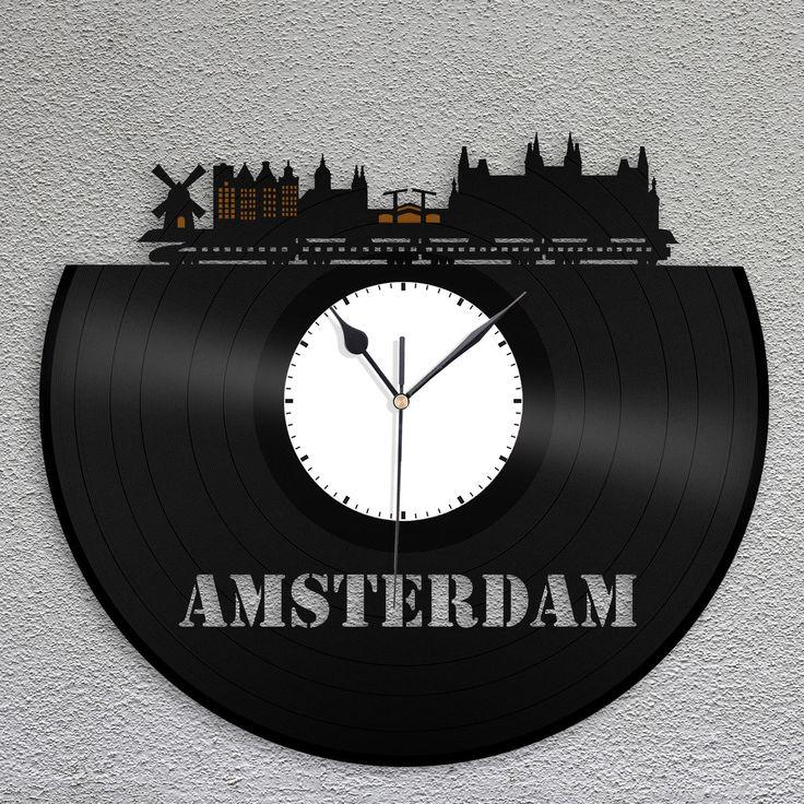 Amsterdam Clock, Netherland Holland Wall Art, Dutch Houses, Cityscape Vinyl Decor, Personalized Gift For Mom, Dad, Best Friend, Boyfriend by VinylShopUS on Etsy