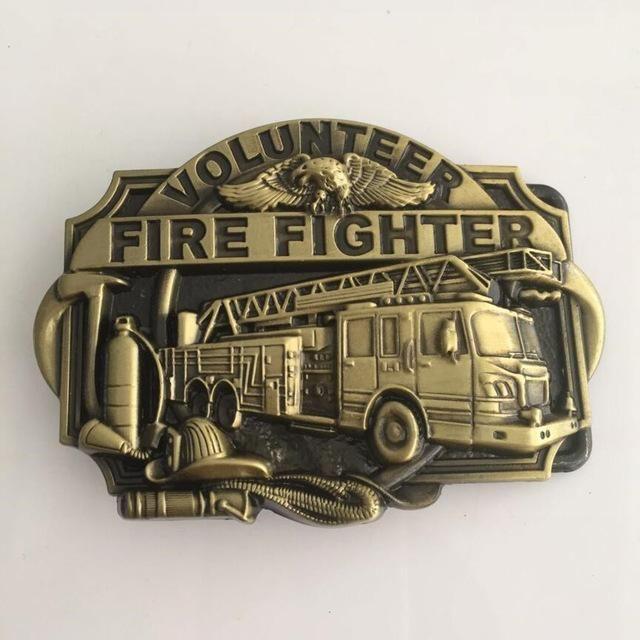 VOLUNTEER FIRE FIGHTERS Super Hero Belt Buckle With 95*68mm 71g Bronze Metal Mens Belt Accessories Jewelry For 4cm Wideth Belt