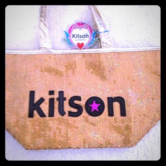 KITSON handbag Gold Sequins KITSON famous store in LA where celebrity's shop own a piece of merchandise that the rich & famous own. I have 2 bags 1 in hot pink & this one on gold. If you like the other color better ck out my other listing . I will add a pic side by side so you can choose! BNWT KITSON Bags