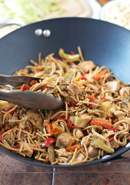 Hot and Sour Noodle Stir Fry with Peanut Chicken. An easy, healthy chicken stir fry.