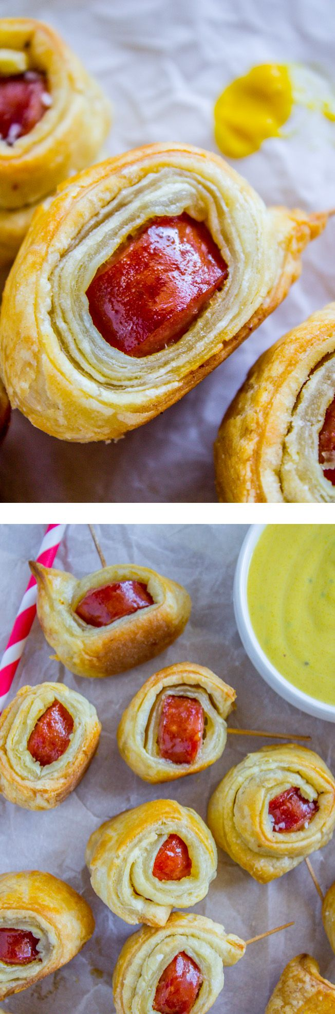 2-Ingredient Kielbasa Puffs from The Food Charlatan. These little bites of Kielbasa are wrapped up in flaky puff pastry for the perfect game day appetizer! Dip them in mustard and enjoy a little more sophisticated pigs-in-a-blanket! It goes without saying that kids and adults alike love these!