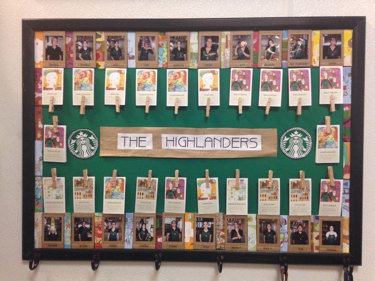 Starbucks green apron board