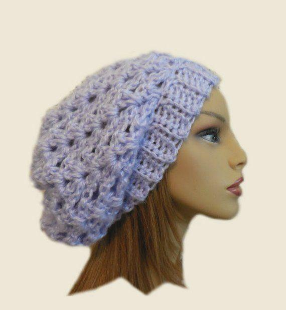 c612d7f6e2f Pale Purple Slouchy Beanie Hat Crochet Knit Slouchie Beanie Slouch Women  Teen Lavendar Light Purple