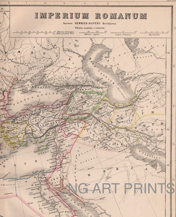 Roman Empire Map 1800s Antique Map Hand Colored Map by NGArtPrints, $26.00