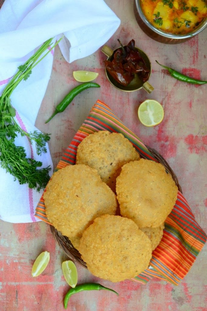 Garma garam bedmi poori with aloo ki sabzi. Stuffed with Urad dal and masalas, this crunchy poori is a very famous breakfast in Delhi and some part of UP.