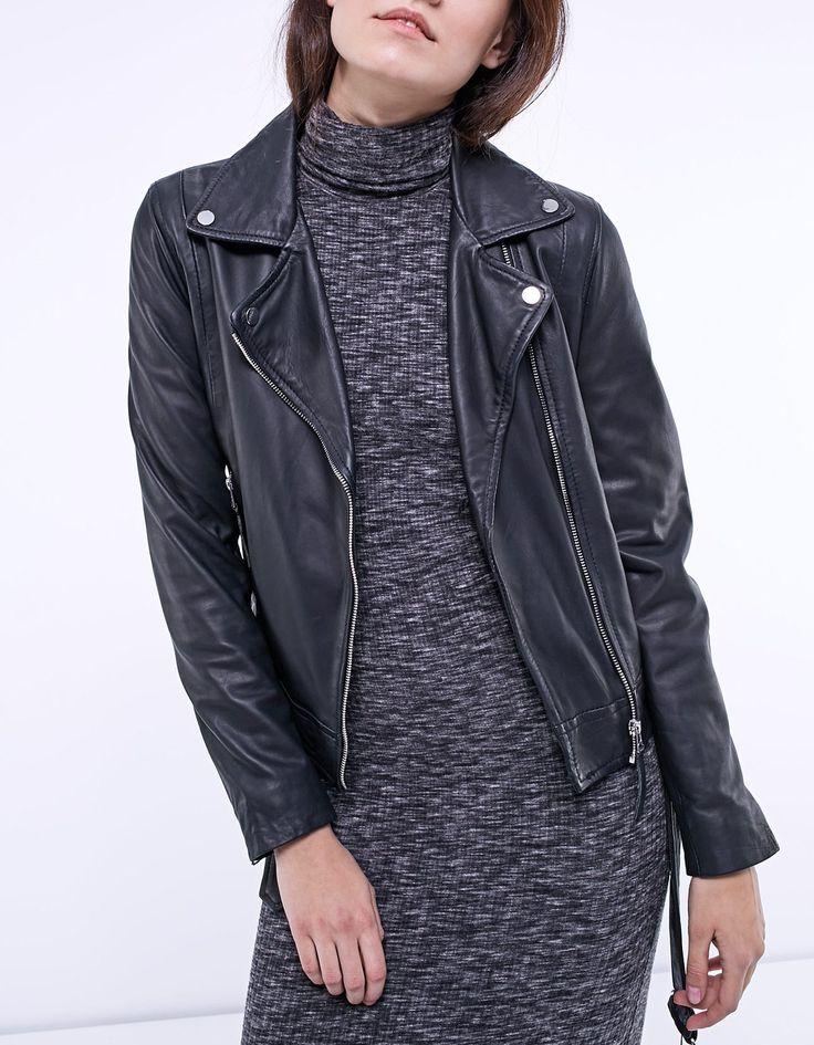 Leather biker jacket with belt