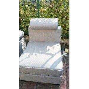 Καναπές λευκός με ανάκλιση προσκεφάλου