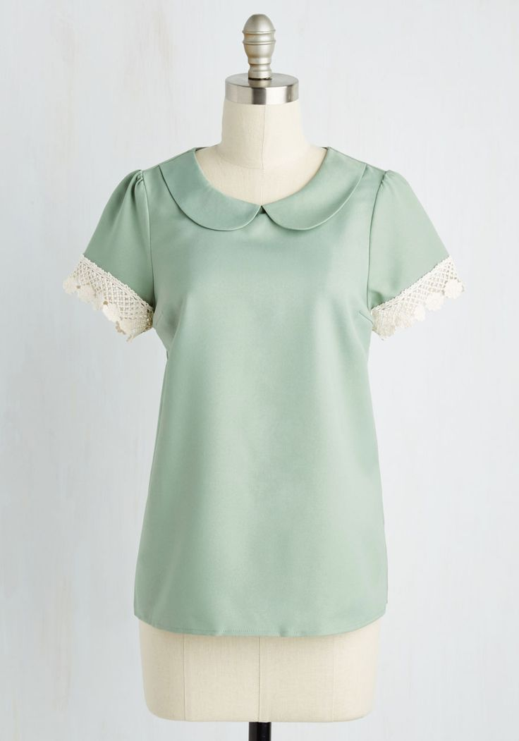 Surprise Tea Party Top in Sage. What could be better than coming home to find your fine China set up and ready to sip out of? #mint #modcloth