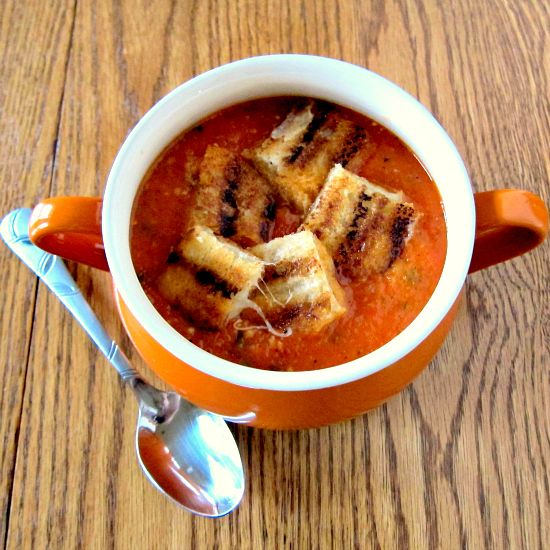 Tomato Basil Soup with Grilled Cheese Croutons | PheNOMenal | SOUP ...