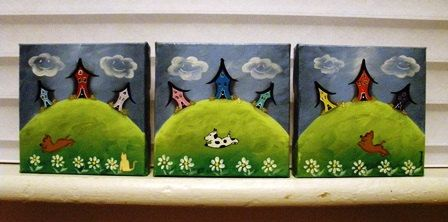Triptych of Whimsical Crooked Houses by LeeArt on Etsy