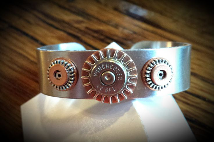 Steampunk Silver Gear Hardware Bracelet, Copper Bullet Cog Repurposed Industrial Rustic Accessories. by CindysImagination on Etsy