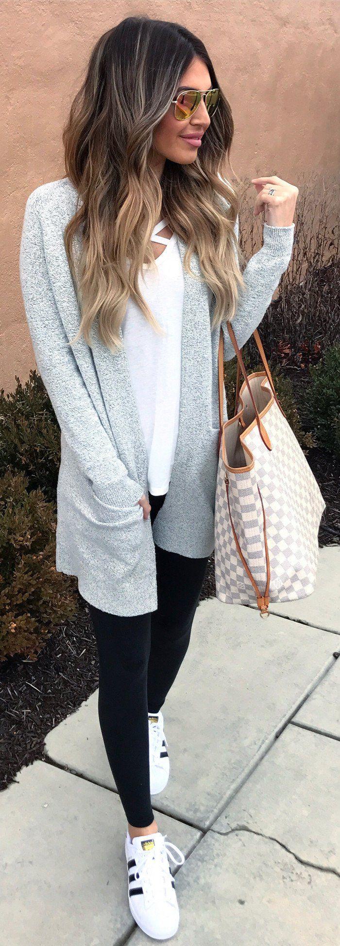 #winter #fashion /  Grey Cardigan / White Tee / Black Leggings / White Sneakers  / Checked Tote Bag