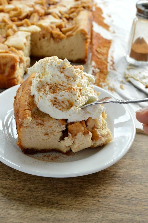 Peanut Butter Apple Cheesecake Recipe This cheesecake recipe is SO easy! Fluffy peanut butter cheesecake on a graham cracker crust topped with cinnamon apples. No springform pan needed! #jifpeanutpowder #walmart #ad