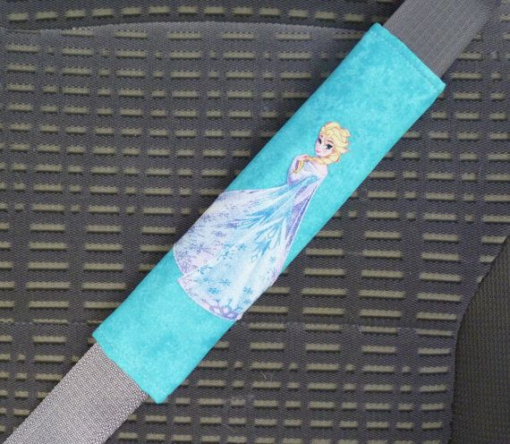 Seat Belt Cover Frozen Disney Elsa Bright Teal Blue, Shoulder Pad, Refrigerator Handle, Tote Bag Handle, Reverse is Teal Blue Chevron