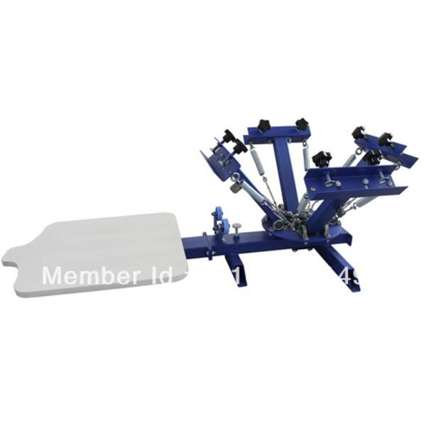 379.00$  Buy here - http://aic40.worlditems.win/all/product.php?id=32762421621 - CHEAP 4 color 1 station silk screen printing machine t-shirt printer press equipment carousel printing area 40*50CM