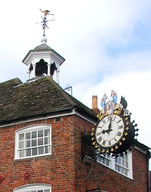 The tolsey bell canopy and clock.