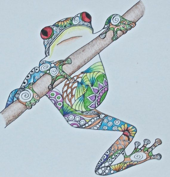 Zentangle Art, Frog Drawing, Hanging frog, Colorful frog, original drawing, colored pencil drawing, frog art