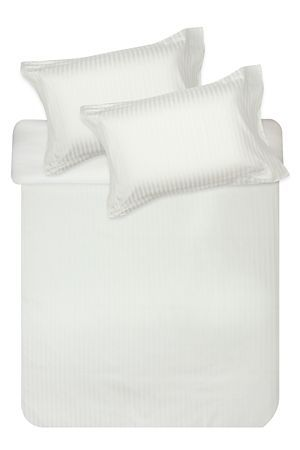 This classic dobby weave stripe duvet cover set with 5cm oxford border detail, is made from 100% natural cotton. The superior 300 thread count cotton is exceptionally soft and has a sateen finish which is luxuriously smooth. Single and three quarter include 1 standard pillowcase, double, queen, king and super king include 2 standard pillowcases.