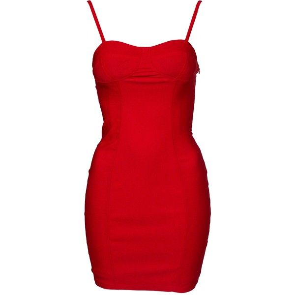 Nly One The Bomb Dress ($54) ❤ liked on Polyvore featuring dresses, party dresses, red, womens-fashion, red dress, red bandeau dress, tall dresses, red cocktail dress and bandeau dress
