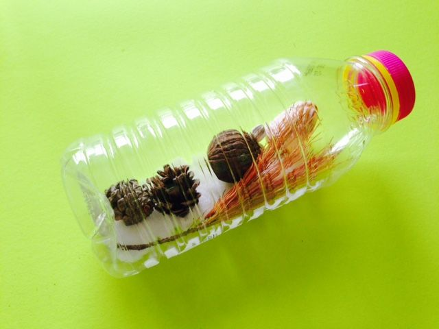 Make Your Own Earth Day Nature Walk Rattle - turn existing plastic into a kids music craft!