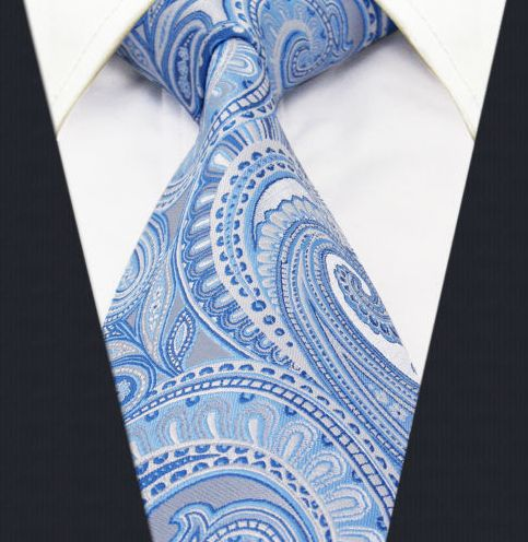 soft baby and light blues in a paisley pattern wedding tie for the groom and the groomsmen