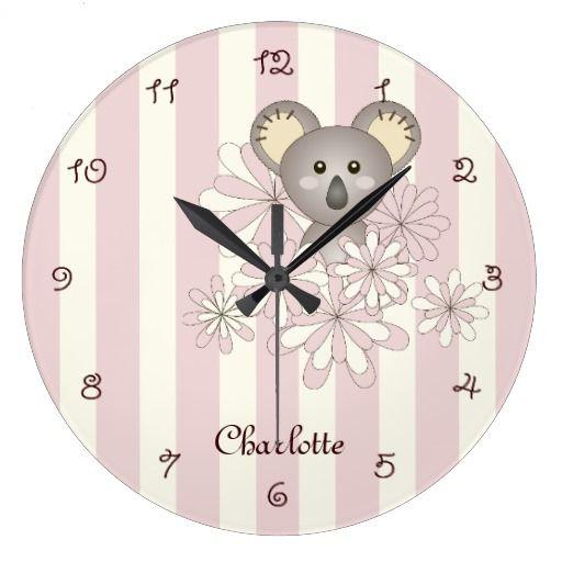 Cute Baby Koala Animal Cartoon Pastel Pink Striped Large Clock   Zazzle.com