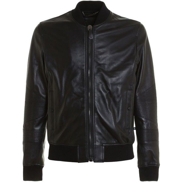 Grenade Leather Bomber ($1,430) ❤ liked on Polyvore featuring men's fashion, men's clothing, men's outerwear, men's jackets, black, mens leather flight jacket, mens leather bomber jacket, mens bomber jacket, mens zip jacket and mens real leather jackets