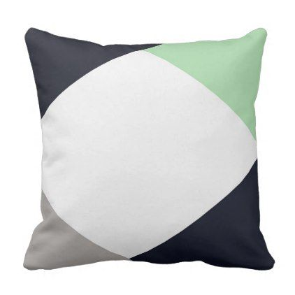 Modern Minimalist Navy & Mint Pillow - home gifts ideas decor special unique custom individual customized individualized