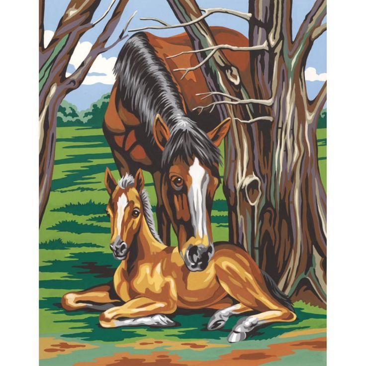 Pferd und Fohlen Malen nach Zahlen Mammut Malvorlage Tiermotiv Tierbild, 9,99 €
