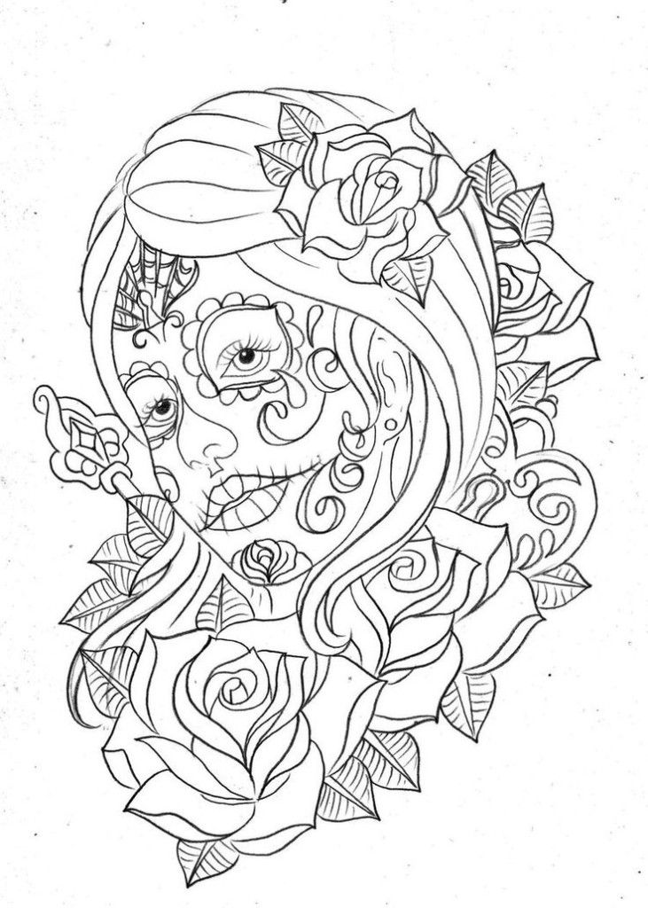 day of the dead coloring pages for adult enjoy coloring - Sugar Skull Tattoo Coloring Pages