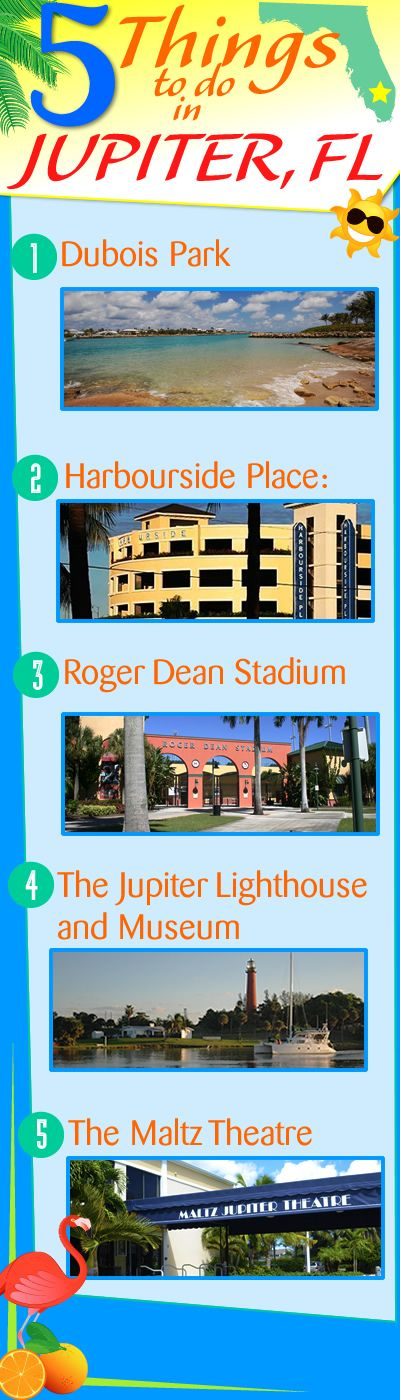 5 THINGS TO DO in JUPITER, FL: 1. Dubois Park 2. Harbourside Place 3. Roger Dean Stadium 4. The Jupiter Lighthouse and Museum 5. The Maltz Jupiter Theatre For more info on things to do in Jupiter, Fl use this link: http://www.waterfront-properties.com/blog/5-things-to-do-in-jupiter-fl.html
