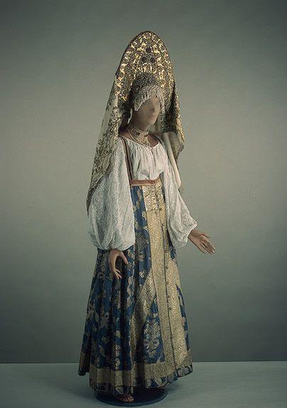 Women's Costume gala: dress, shirt, kokoshnik, shawl  Upper Volga. 19th.  Silk, brocade, muslin, cotton and metallic threads, braids, beads; weaving and embroidery.